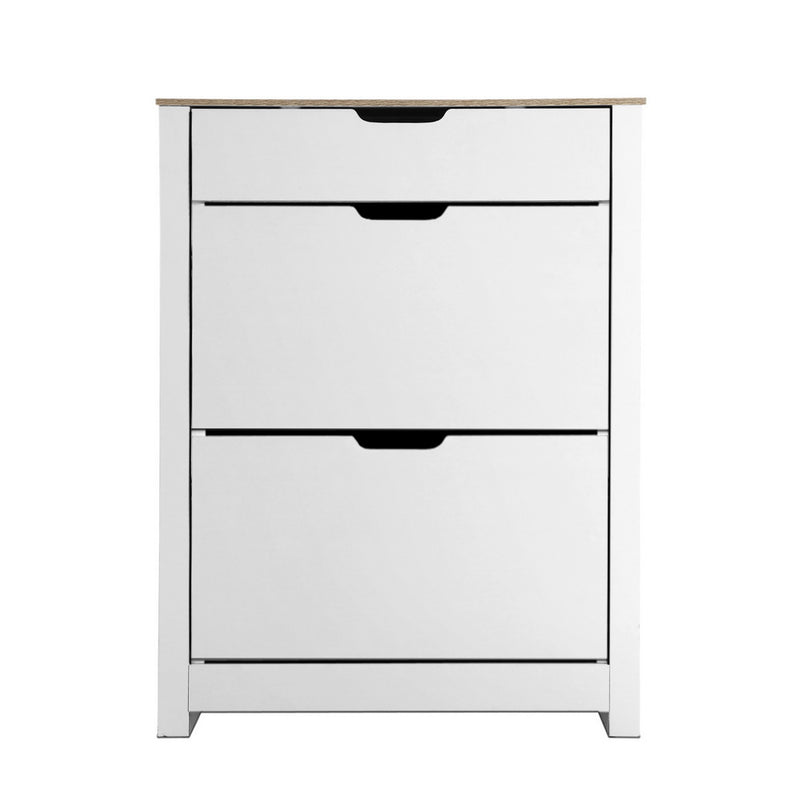 Shoe Cabinet Rack Storage Cupboard Drawer - White
