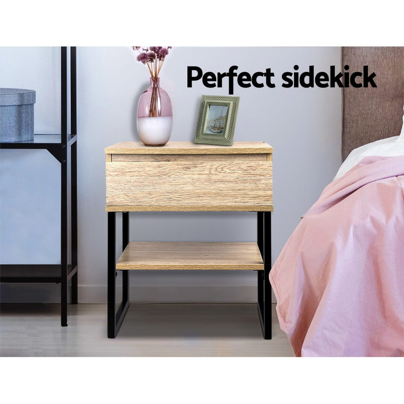Chest Style Metal Bedside Table