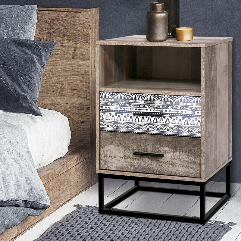Bedside Nightstand Table - Natural Dark Woodgrain