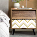 Bedside Table - 2 Drawers - Retro Nightstand