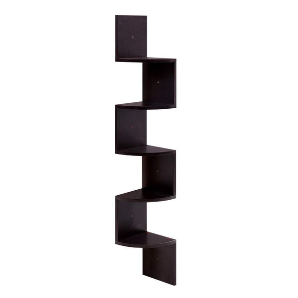 Artiss 5 Tier Corner Wall Floating Shelf Mount Display Bookshelf Rack Brown