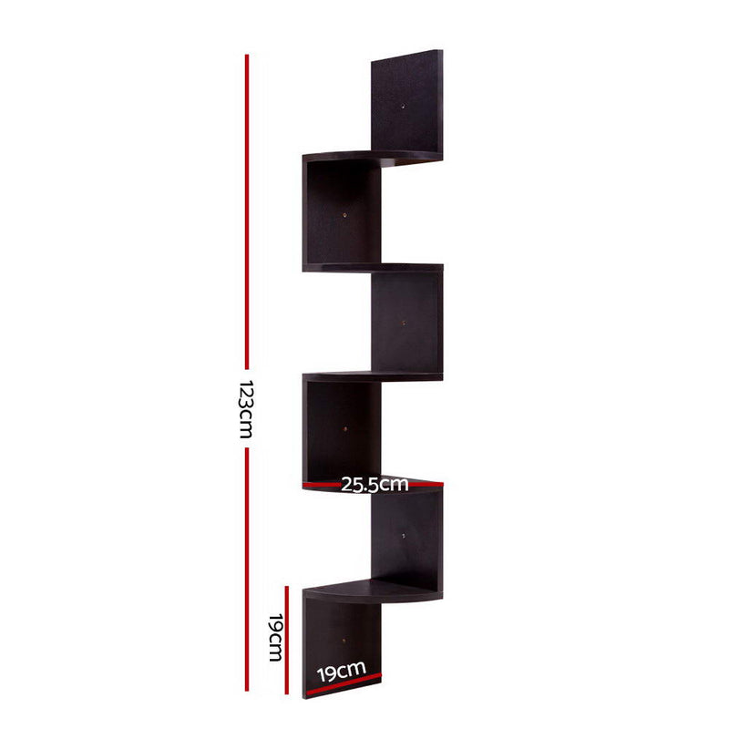 5 Tier Corner Wall Floating Display Bookshelf Rack - Brown