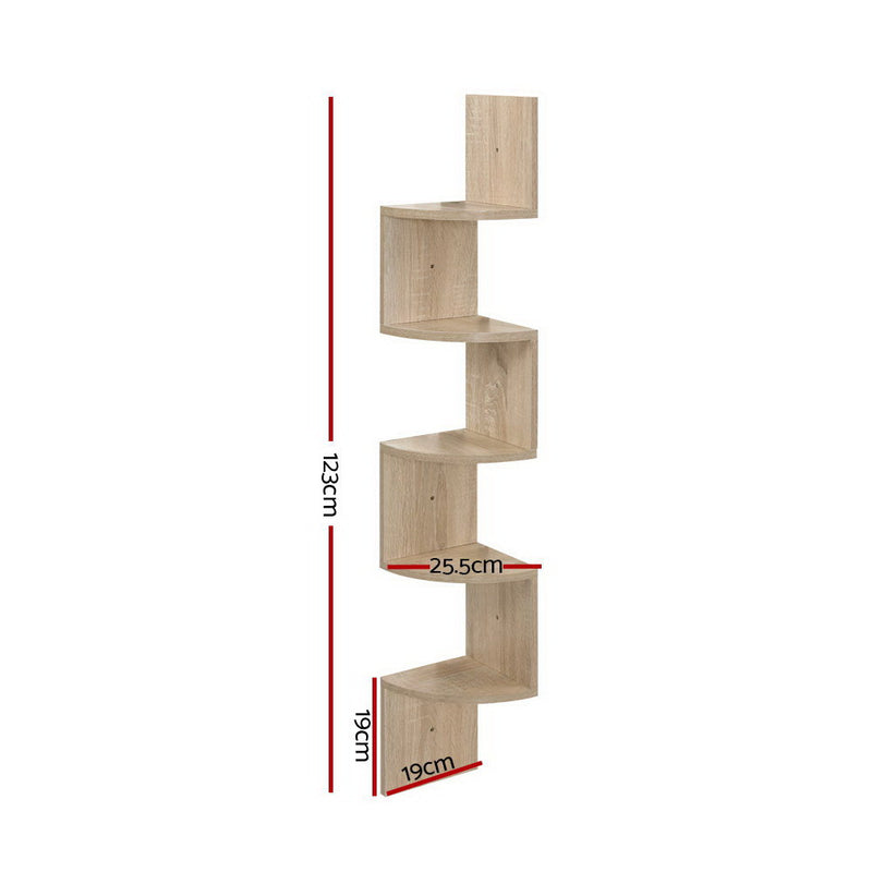 5 Tier Corner Wall Floating Display Bookshelf Rack - Oak