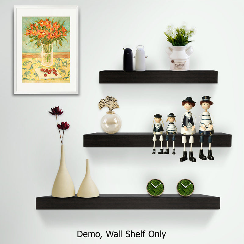 3 Piece Floating Wall Shelves - Black