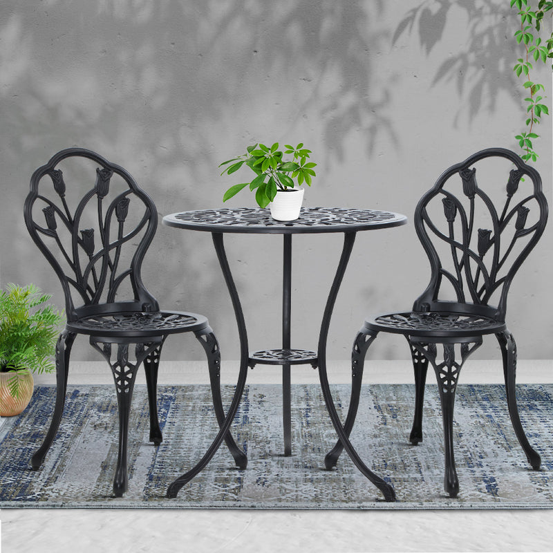 3PC Outdoor Cast Aluminium Bistro Table & Chair Patio - Black