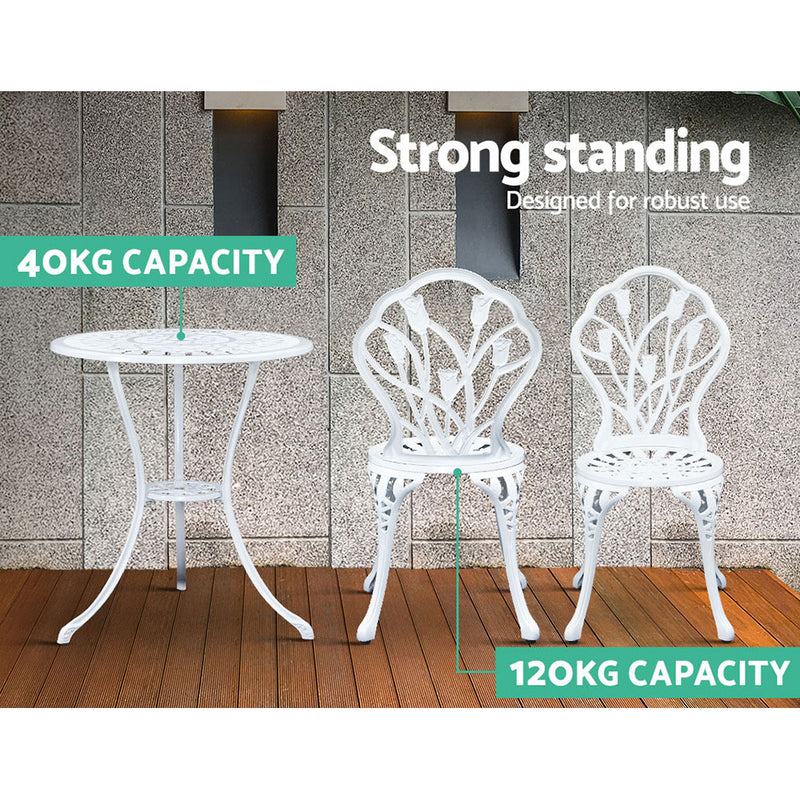 3PC Outdoor Cast Aluminium Bistro Table & Chair Patio - White