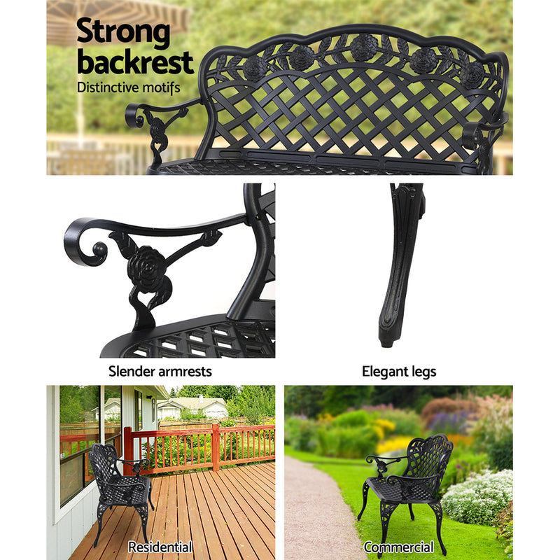 Garden Bench Patio Porch Park Lounge Cast Aluminium Outdoor Furniture