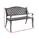 Garden Bench - Outdoor Aluminium Park Bench - Black