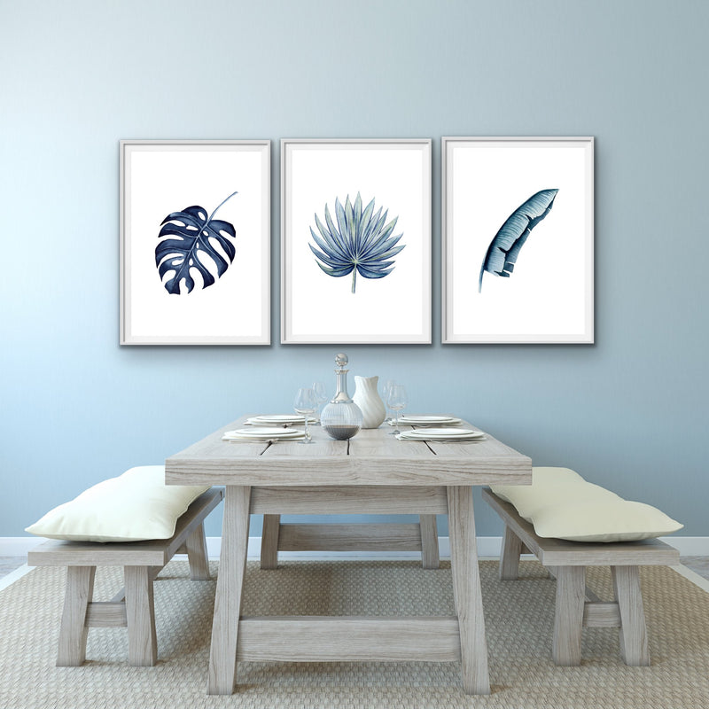 Hamptons Three Piece Blue Monstera Art Print Set