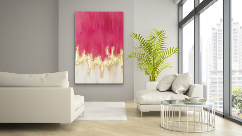 Pink and Gold Abstract Wall Art