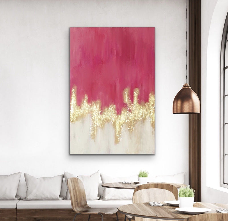 Gold Stream In Pink - Butterfly Artwork Stretched Canvas Wall Art