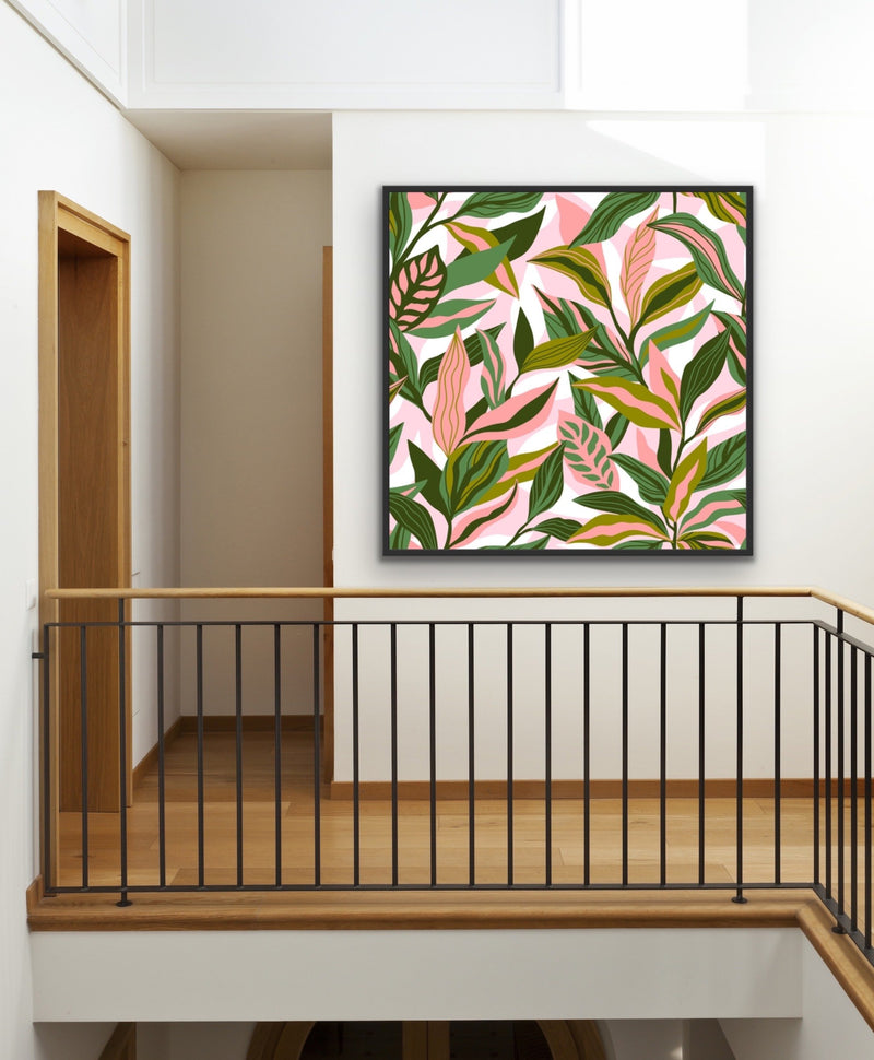 Jungle Vibes - Square Pink and Green Jungle Leaf Print Canvas Wall Art Print