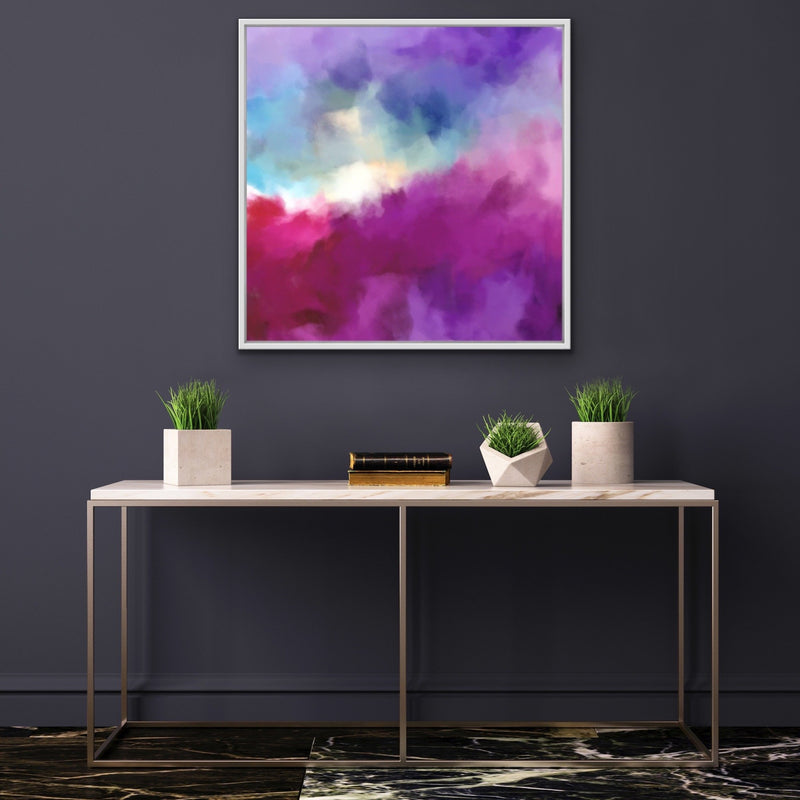 Better Days Ahead - Pink and Blue Abstract Canvas Wall Art Print