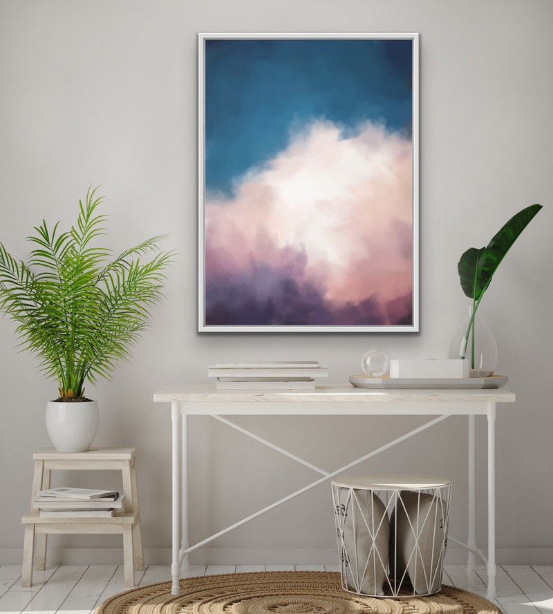 Cloudy Sky Original Wall Art Pink and Blue