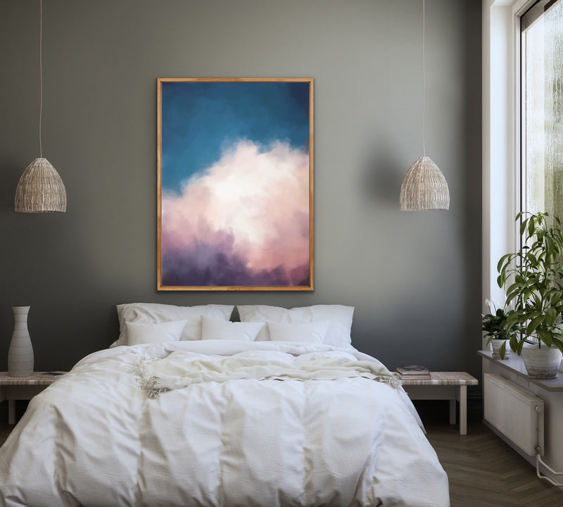 Canvas print of clouds in a Oakframe