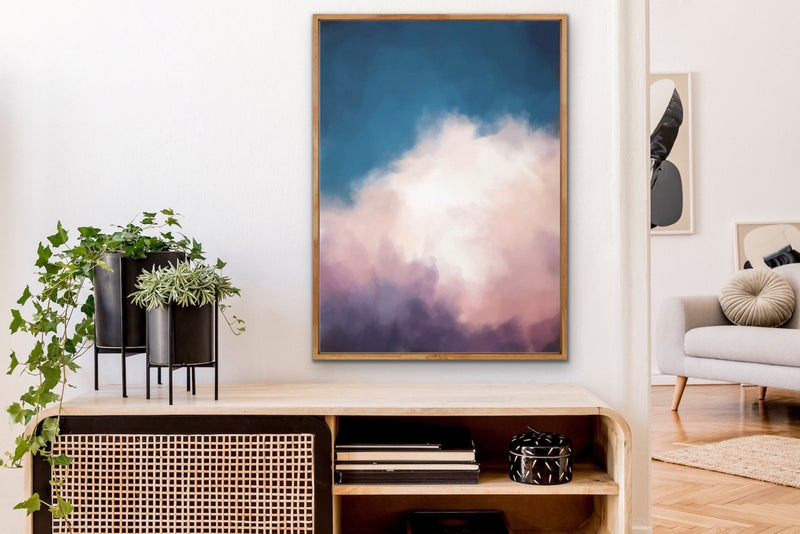 Cloudlands - Abstract Cloudy Sky Artwork Framed Canvas Wall Art Print