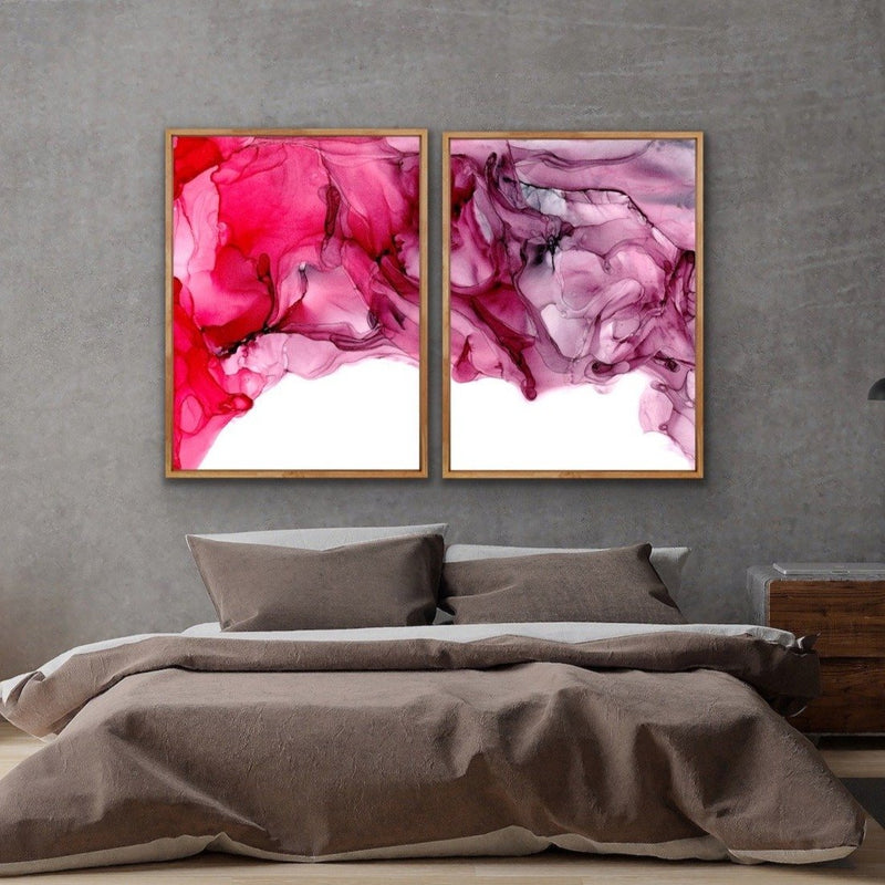 Two piece red alcohol ink watercolour wall art prints timber frame