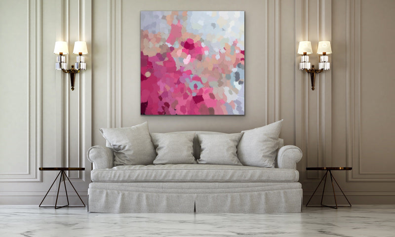 Go Out And Play Pink Natural Blue Abstract Wall Art Print on Canvas