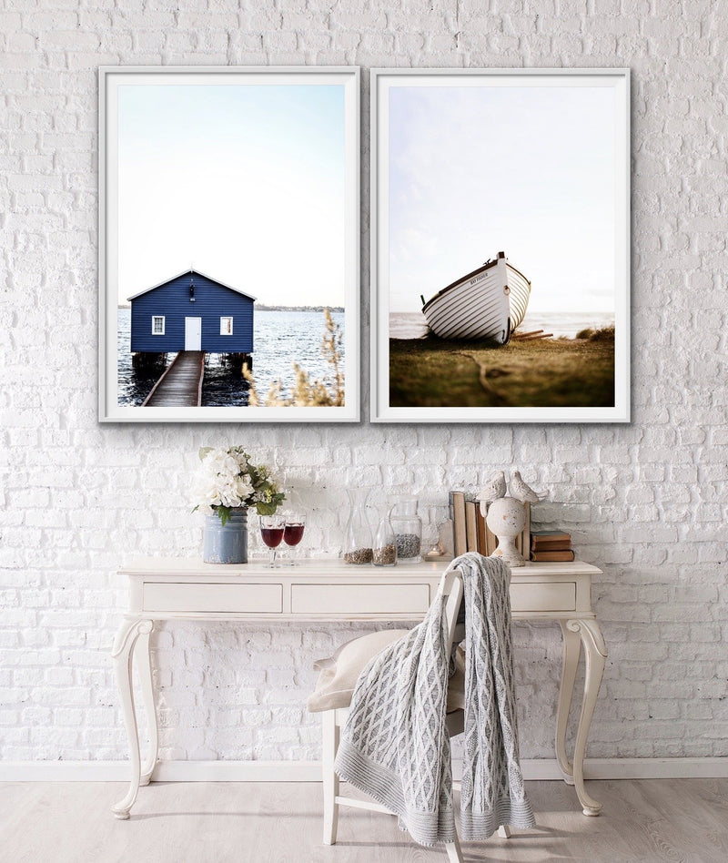 Boat Shed and Dinghy Two PIece Photographic Art Print