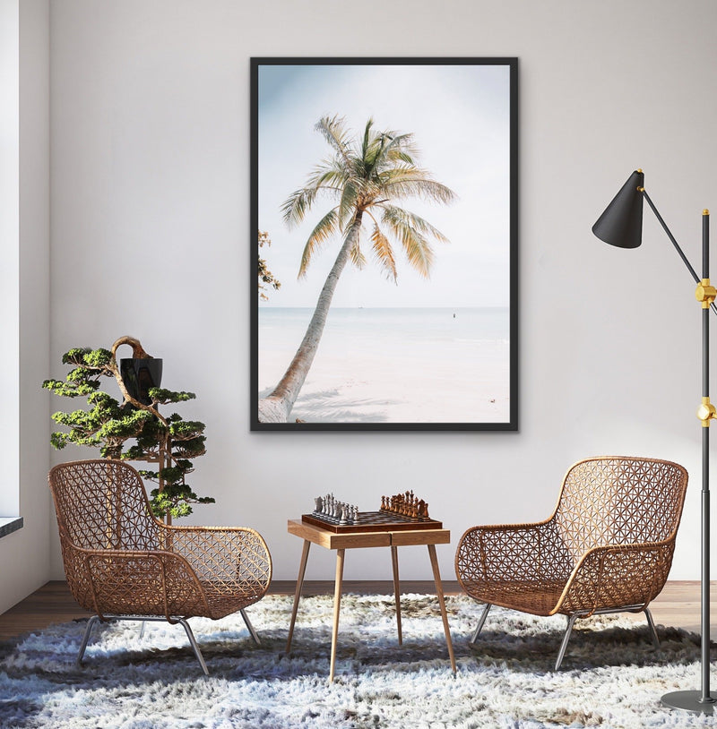 Tropical Palm Washed Out Beach Island Print