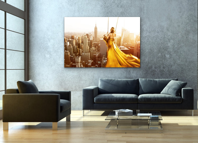 Swing For The Sun - Surreal Gold Art Print Stretched Canvas Wall Art