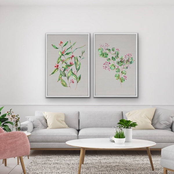 Two piece artwork featuring eucalyptus art prints