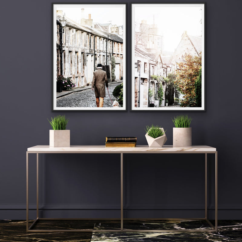The Cobbled Lanes of Edinburgh - Two Piece Photographic Art Prints