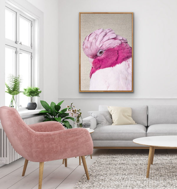 Pink Cockatoo - Gorgeous Pink Cockatoo on Linen Wall Art Print
