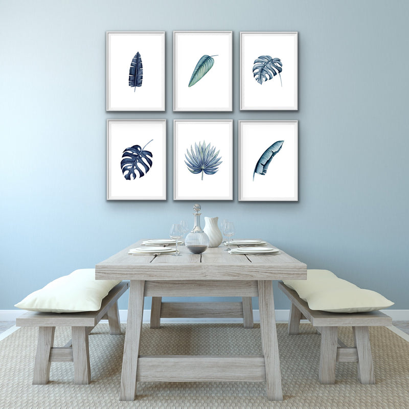 Hamptons Blue - Three or Six Piece Watercolour Monstera and Banana Palm Prints
