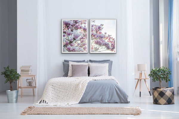 Spring Blossom - Two Piece Soft Pink Floral Canvas Wall Art