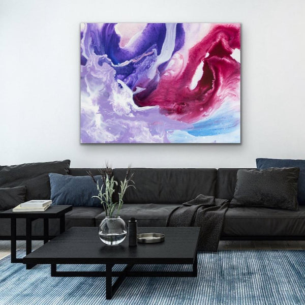 Angry Storm - Abstract Purple and Red Stretched Canvas Wall Art
