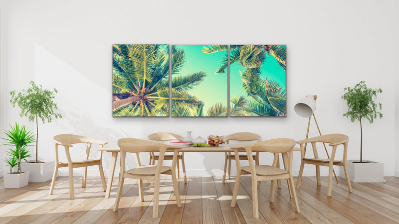 THree piece palm tree wall art print