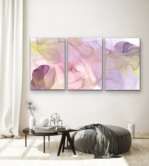 Dancing Days - Three Piece Pink and Yellow Alcohol Ink Abstract Artwork