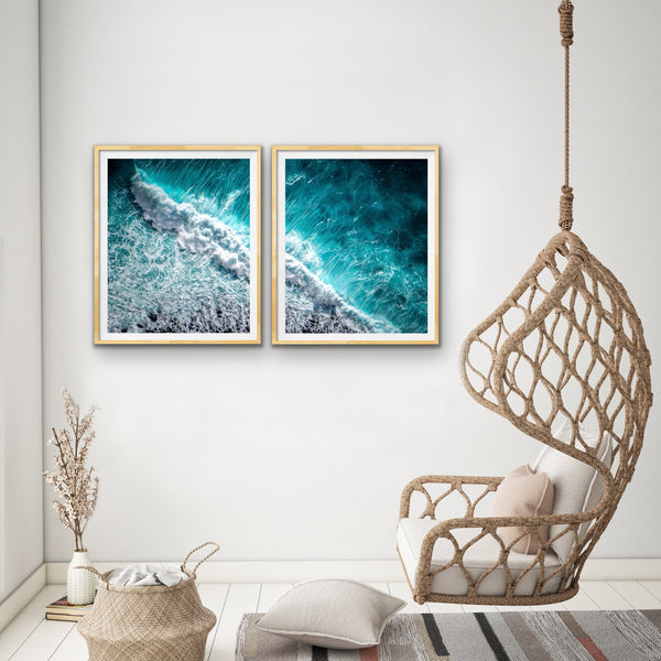 Ocean Aerial Framed Canvas Wall Art