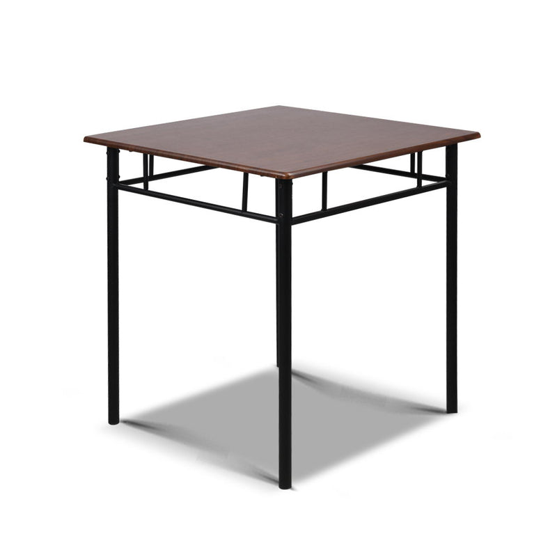 Metal Table and Chairs - Walnut & Black