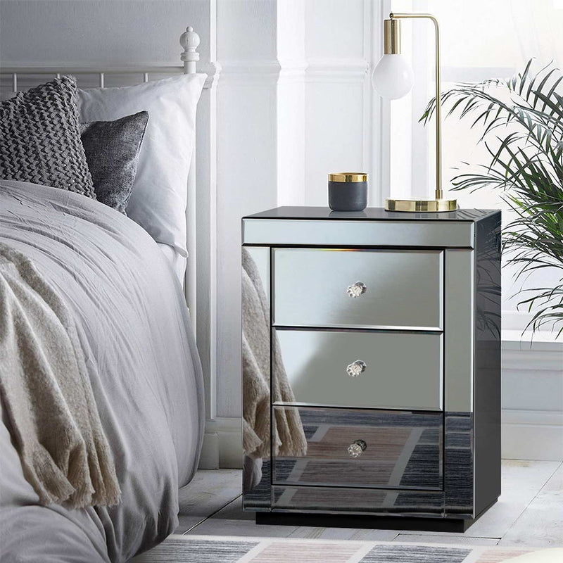 Mirrored Bedside Table Drawers - Smoky Grey