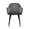 2 x Retro Dining Armchairs - Velvet Grey