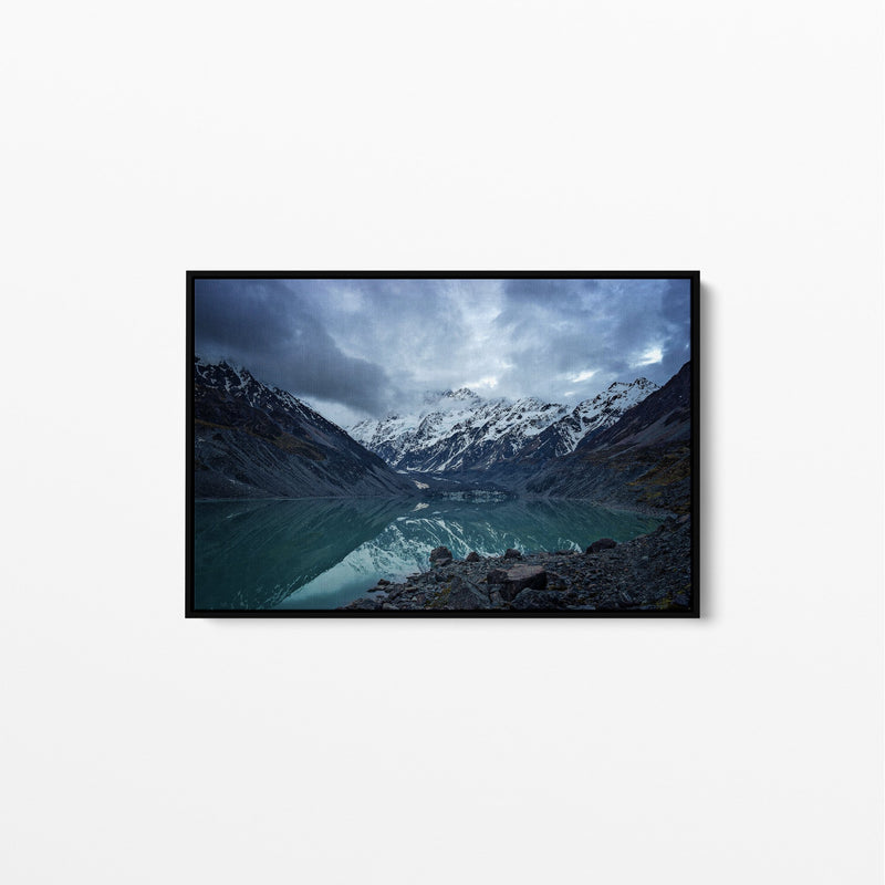 New Zealand alpine lake art print canvas wall art Natural frame.