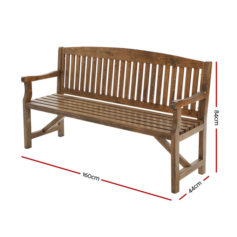 3 Seater - Wooden Garden Bench - Natural Outdoor Furniture