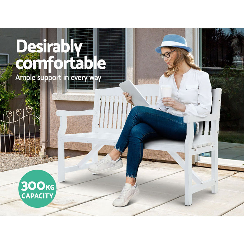 3 Seater - Wooden Garden Bench - White Outdoor Furniture