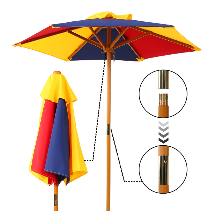 Kids Wooden Picnic Table Set & Umbrella