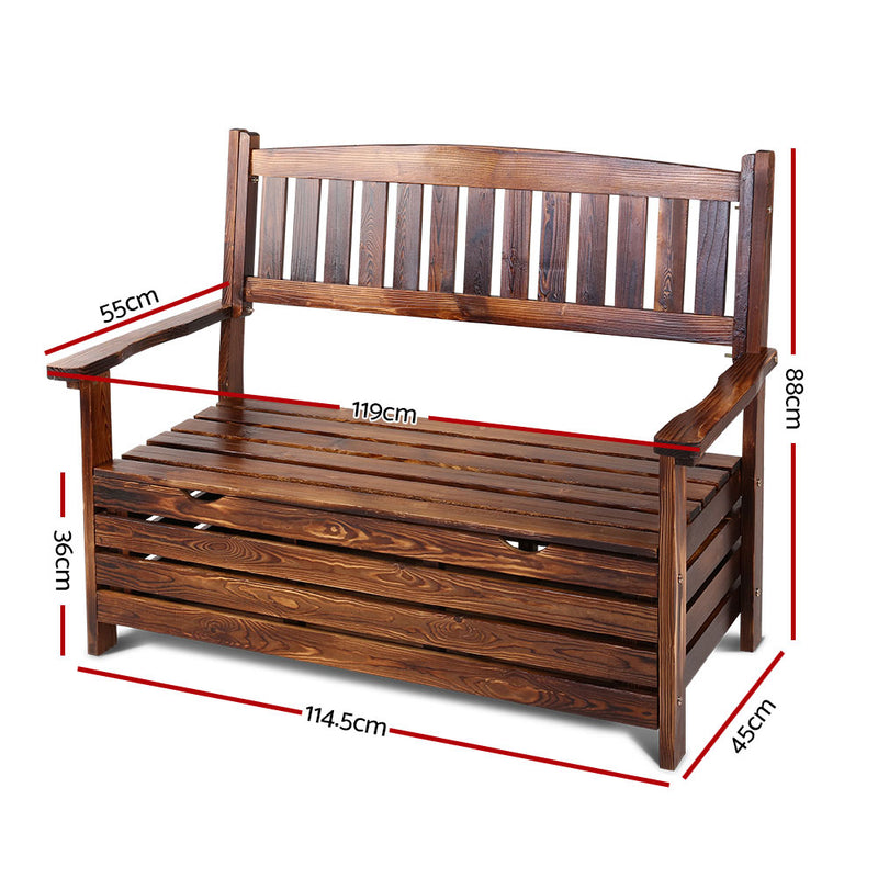 2 Seater Timber Outdoor Storage Bench - Charcoal