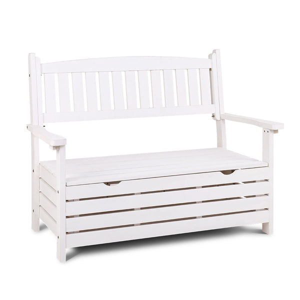 Gardeon Outdoor Storage Bench Box Wooden Garden Chair 2 Seat Timber Furniture White
