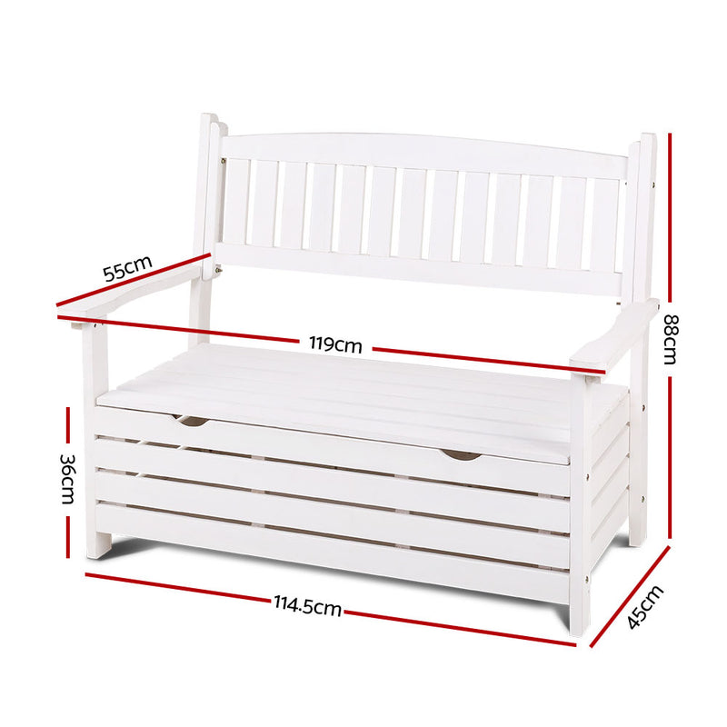 2 Seater Timber Outdoor Storage Bench - White