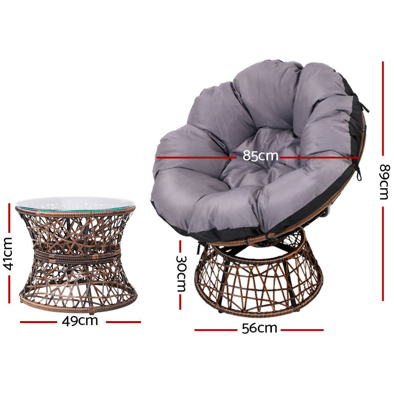 Papasan Chair and Side Table Set - Brown