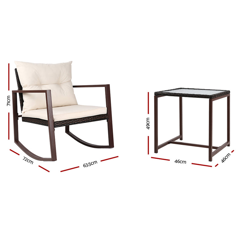 Outdoor Chair Rocking Set - Brown