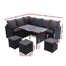 9 Seater Wicker Sofa set - Black