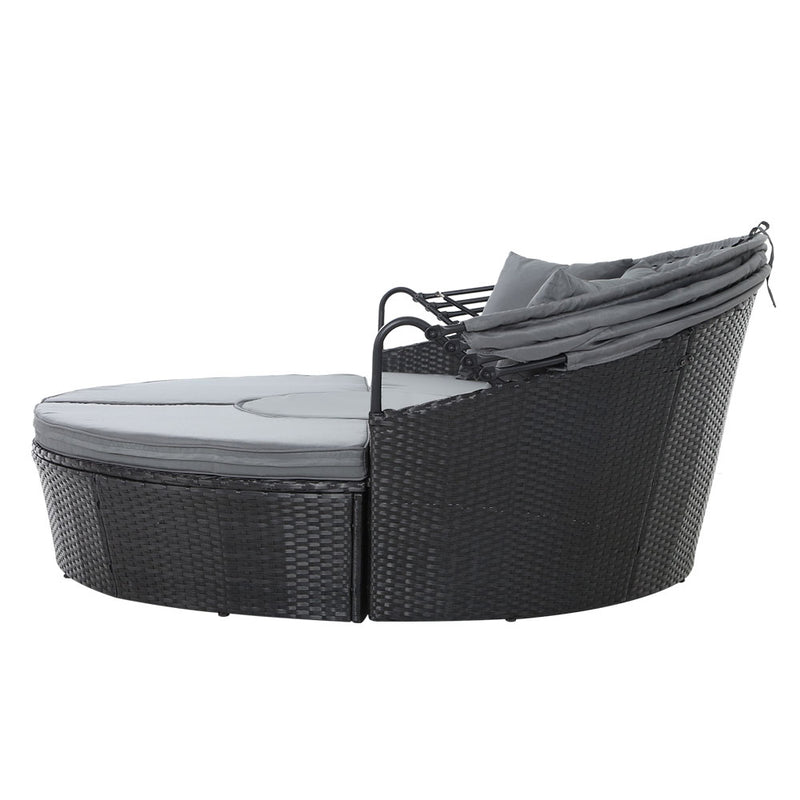 Outdoor Patio Lounge Day Bed - Black