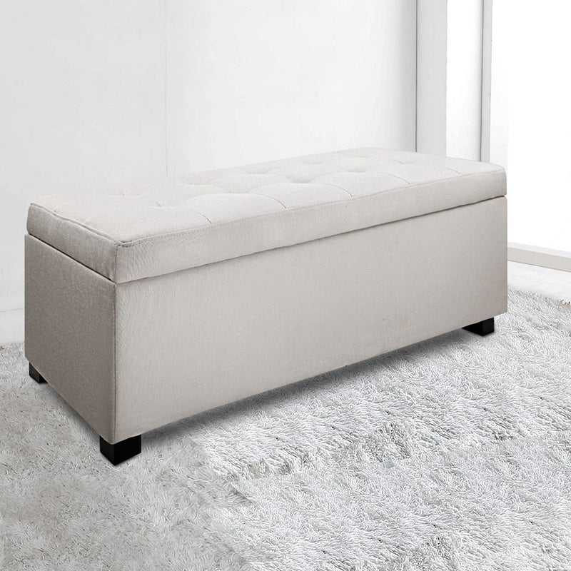 Large Fabric Storage Ottoman - Beige
