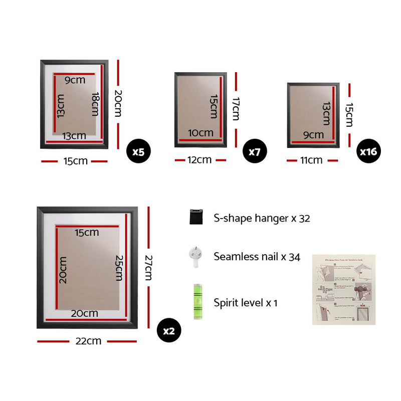 30 PCS Wall Hanging Collage Picture Frames - Black